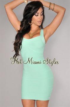 Mint Green Sleeveless Silky Bandage Dress
