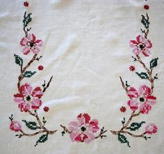 Vintage Tablecloth Hand Embroidered Cross Stitch by CinfulOldies