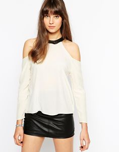 Boulee Mari Cold Shoulder Top With Leather Castle Neck