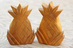 Vintage 50s-60s Wooden Pineapple Salt & Pepper by SycamoreVintage