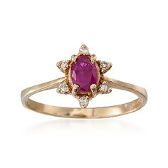 C. 1980 Vintage .50 Carat Ruby and Diamond Ring in 14kt Yellow Gold. Size 6.75