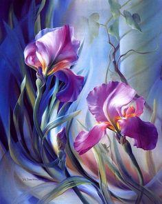 Wonderful Flowers, Beautiful Paintings, Painting Inspiration, Flower Art, Painting & Drawing, Iris Painting, Amazing Art, Watercolor Art, Watercolor Flowers