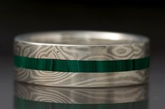 Mokumé Gane and Malachite Inlay Ring by ChrisTimberlake on Etsy, $700.00 Sterling Silver and Nickel
