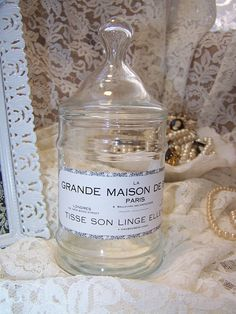Vintage Apothecary Jar with French Label