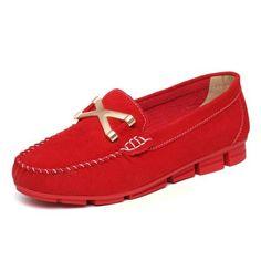 Women Casual Metal Button Loafers Flat Shoes - Gchoic.com