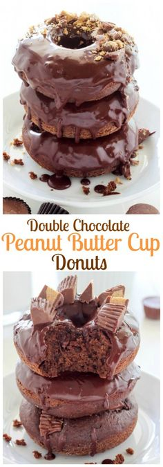 Whoa! Double Chocolate Peanut Butter Cup Donuts - these are so easy and incredible!