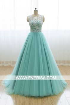 Charming mint green A-Line/princess Scoop Neck Floor Length Tulle prom dresses with ruffle Sleeveless  -  $125.00 Form https://www.everisa.com/charming-mint-green-a-line-princess-scoop-neck-floor-length-tulle-prom-dresses-with-ruffle-sleeveless