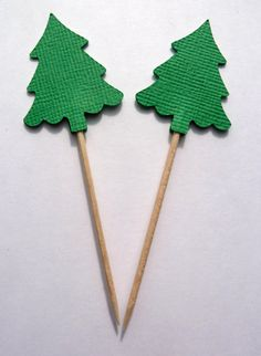 24 Green Evergreen Christmas Tree Toothpick by OneAngryFerret