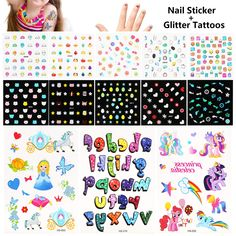 Phogary Kids Nail Art Stickers with Glitter Tattoos - 10 Sheets Cartoon Nail Decal Glow in The Dark 3 Sheets Unicorn Princess Luminious Temporary Tattoos, Best Birthday Present Idea for Kids *** You can get additional details at the image link. (As an Amazon Associate I earn from qualifying purchases) Nail Art Stickers, Nail Decals, Nail Art For Kids, Glitter Tattoos, Unicorn Princess, Art Costume, Tattoo Set, Body Glitter, Body Makeup