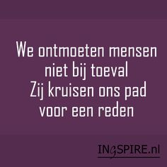 Spreuk spiritualiteit: We ontmoeten mensen niet bij toeval. Zij kruisen ons pad voor een reden Yoga Quotes, Life Quotes, Dutch Quotes, Mindfulness Quotes, Positive Thoughts, Life Lessons, Wise Words, Best Quotes, Texts