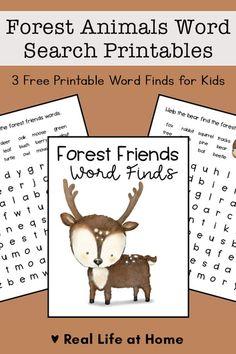 Picnic Activities, Indoor Activities For Kids, Literacy Activities, Easy Word Search, Word Search Puzzles, Upper Elementary, Elementary Schools, Forest Animals, Woodland Animals