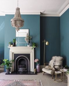 Living room painted in Inchyra Blue, ceiling in Shaded White and the fire surrou. Living room painted in Inchyra Blue, ceiling in Shaded White and the fire surround in Drop Cloth. Farrow And Ball Living Room, Teal Living Rooms, Living Room Decor Colors, Living Room Color Schemes, Living Room Green, Blue Rooms, New Living Room, Living Room Designs, Grey Living Room With Color