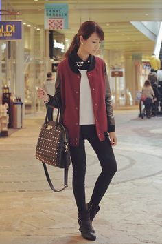 Sp Ray Jacket, Egoist Bag, Cecil Mc Bee Top And Sweater, Topshop Pants, Dkny Boots