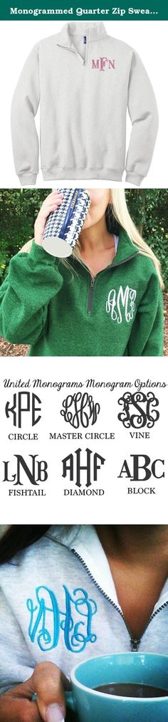 Monogrammed Quarter Zip Sweatshirt. Our monogrammed quarter zip sweatshirt is the perfect addition to any outfit on a chilly day. Our zip ups add a hint of style and sophistication to any casual look! This is a UNISEX sized product, it is not fitted or ladies cut. Please reference size chart in photos! There will be NO returns or exchanges due to the personalization of this product. Once an item is embroidered, it cannot be undone. Please let us know if you have any questions regarding…