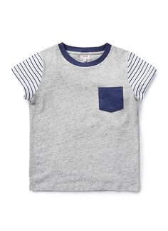 100% Cotton Jersey Short Sleeve tee with front contrast patch pocket and striped sleeves