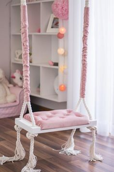 is part of Kid room decor The new dimension of the seat Elegant swing on ropes with upholstered seat in powder pink color The swing can b - Room Design Bedroom, Girl Bedroom Designs, Room Ideas Bedroom, Kids Room Design, Teen Bedroom, Bedroom Decor, Girls Bedroom Furniture, Room Kids, Cute Room Decor