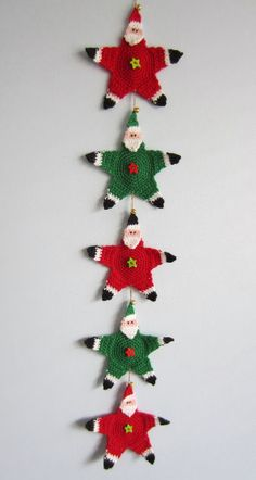 Santa garland. All the stars are so simple to make, great for children to crochet for cheap gifts.