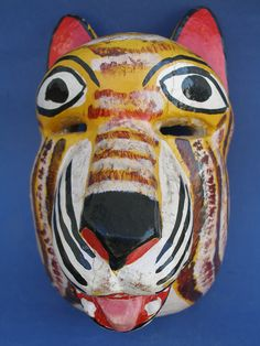 Tiger Head Wood Mask - Mexican Wood Carving Art