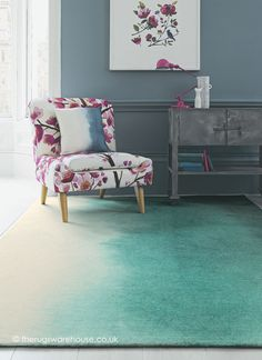 Teal Paintbox Rug (Bluebellgray), a luxurious wool rug in teal blue & cream  http://www.therugswarehouse.co.uk/teal-paintbox-rug.html #rugs #interiors #luxury