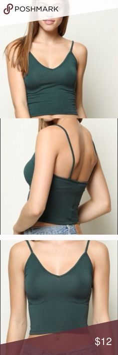 Brandy Melville crop tank Available in green or white. Lightly worn. Brandy Melville Tops Tank Tops