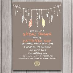 Tribal Boho Bridal Shower Invitation Digital Download, Feather Bohemian Wedding Bachelorette Party Invite, Whimsical Engagement Printable
