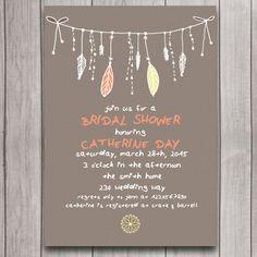Tribal Boho Bridal Shower Invitation Digital Download, Feather Bohemian Wedding Bachelorette Party Invite, Whimsical Engagement Printable