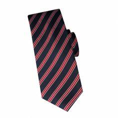 Cravate en soie marine à rayures rouge #cravate http://www.cafecoton.fr/cravate-soie-homme/10899-cravate-en-soie-marine-a-rayures-rouge.html