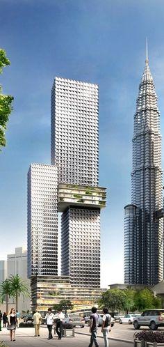 Angkasa Raya, former Aurora Tower, Kuala Lumpur, Malaysia by Buro Ole Scheeren :: 65 floors, height 268m