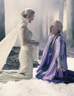 I love that the make-up, costumes, and hair make the Snow Queen and Elsa always look almost ghost-like...very cool effect