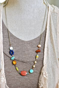 Jenna.. bohemian beaded long necklace. by tiedupmemories on Etsy, $45.00