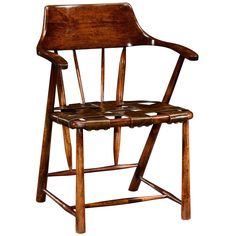 Jonathan Charles Walnut Smokers Chair with Webbed Leather Seat