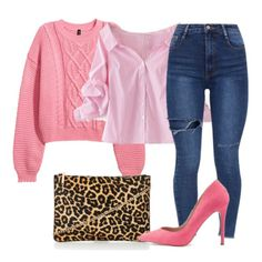 Pink striped button-down shirt+high-waist skinny jeans+pink sweater+pink pumps+leopard print clutch. Winter to Spring/ Transitional Dressy Casual Outfit 2018