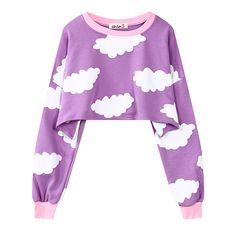 Todays Fashion Crop Top on The Demon's Chest.Harajuku Purple Cloud Print Crop Top Fleece Long Sleeve Dc416 is a trendy and unique designer for every customer, which will be a eye- catching focus in the street. .It is a staple in your wardrobe for it can be worn for your daily outfit for many occasions.
