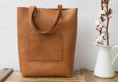 Oversized Camel Leather tote bag. Cap Sa Sal Bag. by VermutAtelier