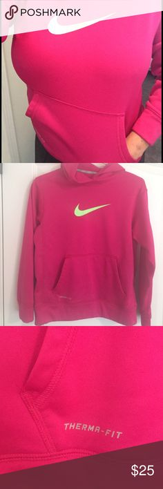 Nike Therma-Fit Pink w/ Neon Green Swoosh Nike Therma-Fit Pink w/ Neon Green Swoosh.   LIKE NEW! / Warm and Adorable Nike Sweatshirt with hood and front Pocket.⛄️️Tag is large but it definitely fits like Medium!!, hence the listing. ❄️Mesh-lined scuba Hood for breathable Coverage ⛄️Nike Therma And Dri-fit fabric helps keep you warm and dry Nike Tops Sweatshirts & Hoodies