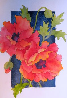 The Painted Prism: WATERCOLOR WORKSHOP: Painting Red Poppies tutorial. use cactus flowers and pale cactus behind the dark backdrop Watercolor Poppies, Red Poppies, Watercolor Paintings, Watercolors, Watercolor Lesson, Simple Watercolor, Yellow Roses, Pink Roses, Painting & Drawing