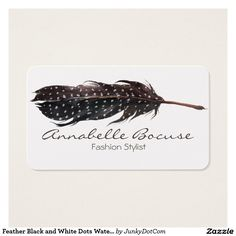 Feather Black and White Dots Watercolor Business Card March 28 2017 #junkydotcom #zazzle