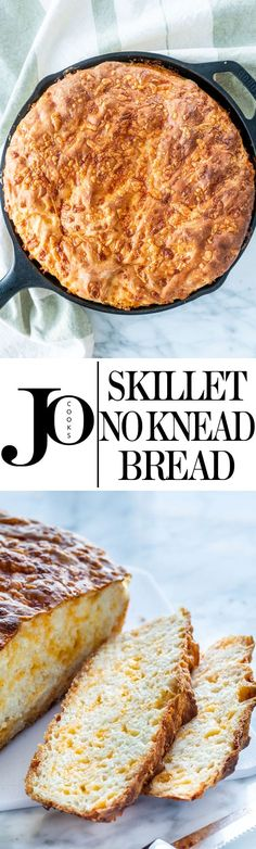 This No Knead Skillet Bread is soft with a delicious crust and only 5 ingredients. This incredibly simple recipe will be your go-to for homemade bread! Bread Bun, Bread Rolls, Bread Recipes, Cooking Recipes, Easy Cooking, Skillet Bread, Biscuit Bread, Cheese Bread, No Knead Bread