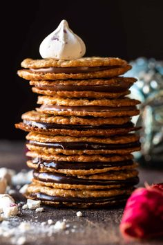Easy Hot Chocolate Lace Cookies | halfbakedharvest.com Biscotti, Holiday Cookie Recipes, Holiday Cookies, Tea Cakes, Oatmeal Lace Cookies, Fudge, Dessert Crepes, Kolaci I Torte, Galletas Cookies