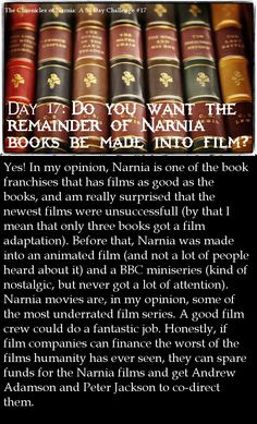 More Narnia films? Yes, please! The Narnia Challenge, day 17