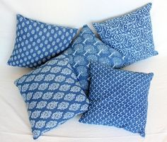 Indigo Blue Hand block print Cotton cushion cover 5 pc 16x16'' mg 01q #HandMade