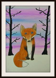 Watercolors to create a snowy sunrise or sunset. Foxes in black marker & soft pastel. Acrylic trees and snow. Cut & glue on foxes. Classroom Art Projects, School Art Projects, Art Classroom, Animal Art Projects, Winter Art Projects, 3rd Grade Art Lesson, Snow Art, Ecole Art, Art Plastique
