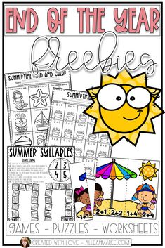 Summer Freebies: End of the Year Worksheets and Games Kindergarten Worksheets, Kindergarten Activities, Boot Camp, End Of Year Activities, Ocean Activities, Preschool Graduation, Special Education Classroom, Classroom Fun, End Of School Year