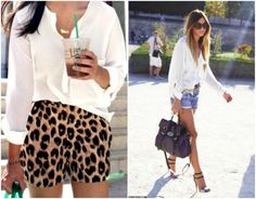 Lovin' the white shirt, jean shorts & strappy heels.