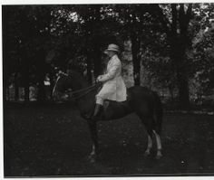 Miss Rogers on horse, from a Kinney glass plate negative :: Archives & Special Collections Digital Images :: 1921