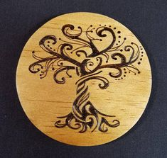 Handmade Tree of Life Wood Burned Coasters,Handmade wooden coasters with a beautiful Tree of Life design burned into them. Set of What's wood . Wood Burning Kits, Wood Burning Stencils, Wood Burning Crafts, Wood Burning Patterns, Wood Crafts, Wood Burning Projects, Sous Bock, Pyrography Patterns, Pyrography Ideas