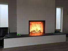 Kernow Fires Stuv woodburner in bespoke fireplace wood burning stove installation in Cornwall. Inset Fireplace, Wood Burner Fireplace, Modern Fireplace, Fireplace Wall, Living Room With Fireplace, Fireplace Design, Living Rooms, Inset Log Burners, Inset Stoves