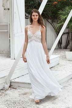 01a125e2544d Lillian West boho-chic wedding gown with a lace bodice. Wedding Ideas,  Wedding