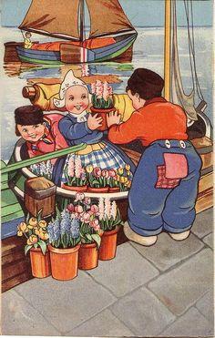 Vintage Postcard, Volendam 1942 - love Volendam - one of my favorite places in Holland