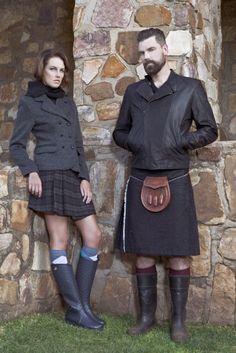Kilt with rain boots.